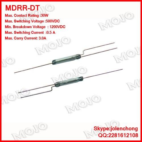 MDRR-DT США Хэмлин геркон 2.5x14 мм nc/n.o зеленое стекло 3 фута герметичный Герконы