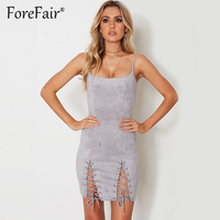 Forefair Ladies Suede Strap Leather Dress 2017 Sexy Slim Bodycon Women Dress Night Club Strapless Mini
