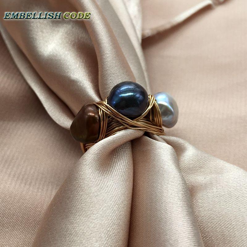 Nouveau design nid d'oiseau style petite taille baroque perles gris paon marron café couleur avec fil d'or main faire anneau - 6