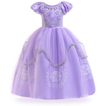 5c48fc216 2019 primavera Sofia Cosplay fiesta Pascua carnaval niñas vestido Elsa  vestido disfraz niños vestidos para Niñas Ropa princesa vestido