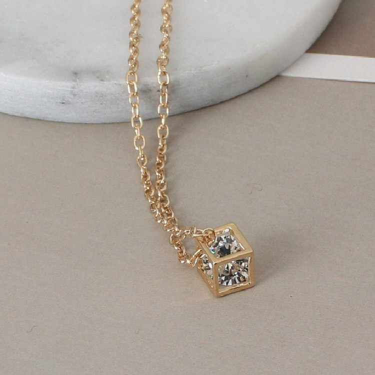 Punk New Fashion Necklace Gold/silver Crystal Wedding Love Cubic Three-dimensional Sparkling Pendant Necklace Wholesale Sales