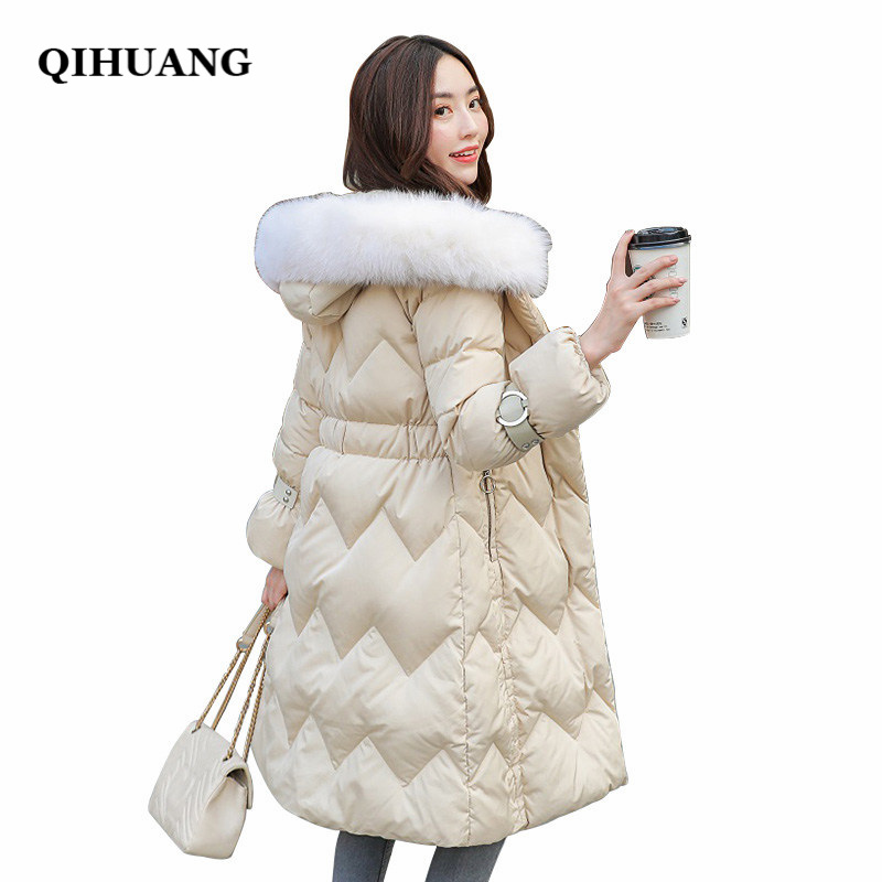 QIHUANG Winter Women Long Down Jackets Soft Fur Collar Hooded Female Duck Down Coat Slim Warm Women Parkas Winter Long Coat