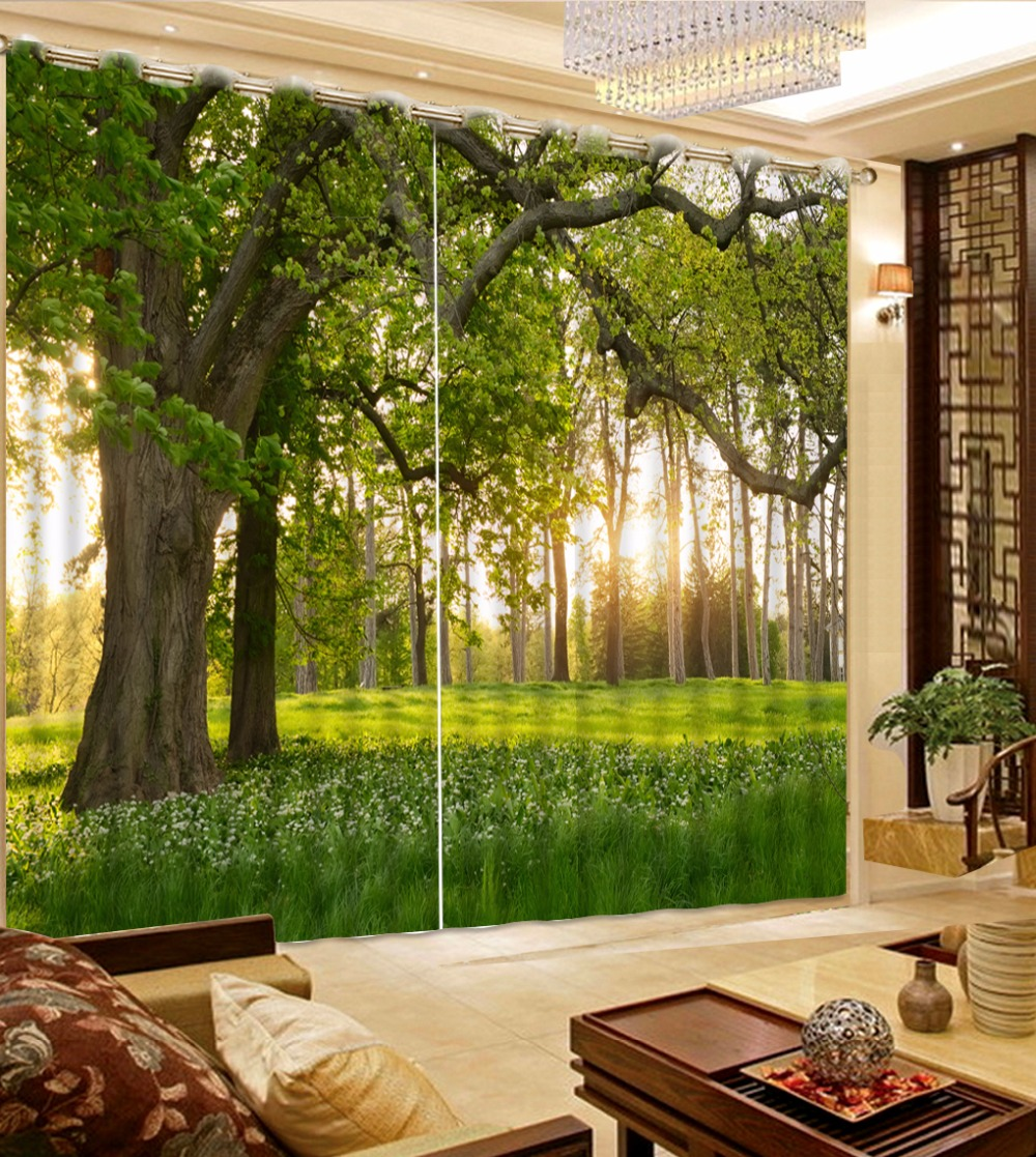 Customize Modern Grommet 3d Curtains For Living Room Tree