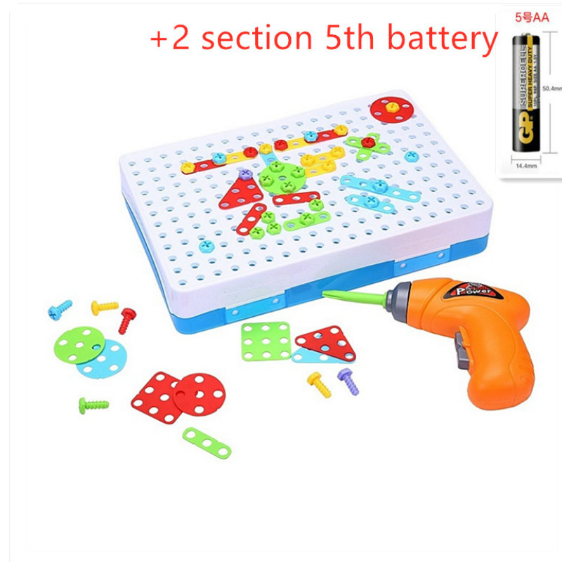 Kids Boys DIY Take-along Mosaic Puzzles Play Toys Kit With Toy Drill Tools