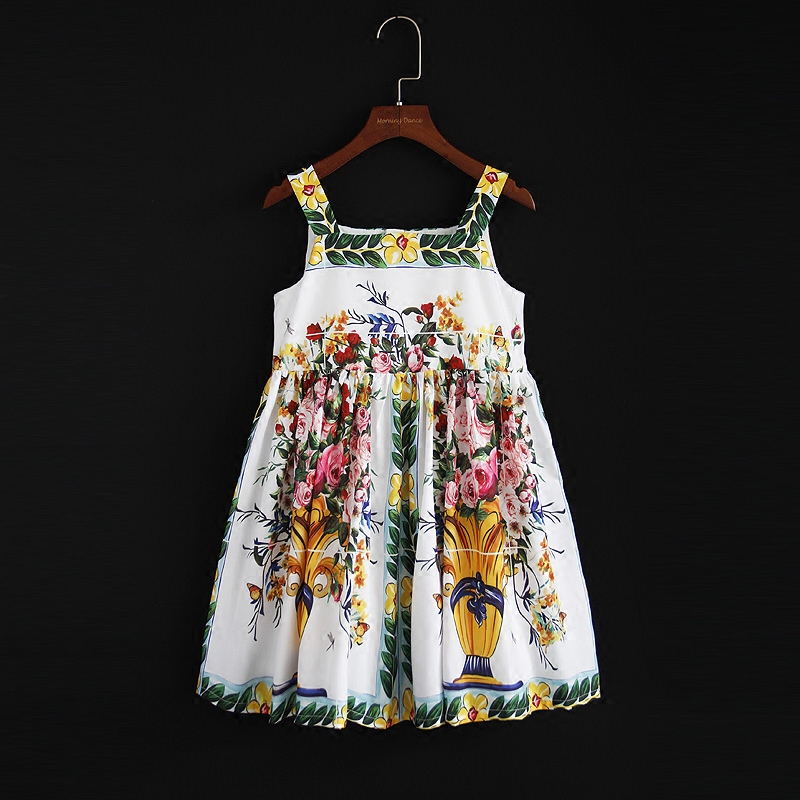 Spring Summer kids clothes mom girls family matching clothing mother and daughter vase print dress girl vest holiday beach dress