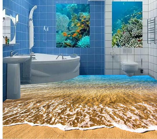 Custom photo floor wallpaper 3d stereoscopic beach 3d for Floor 3d wallpaper