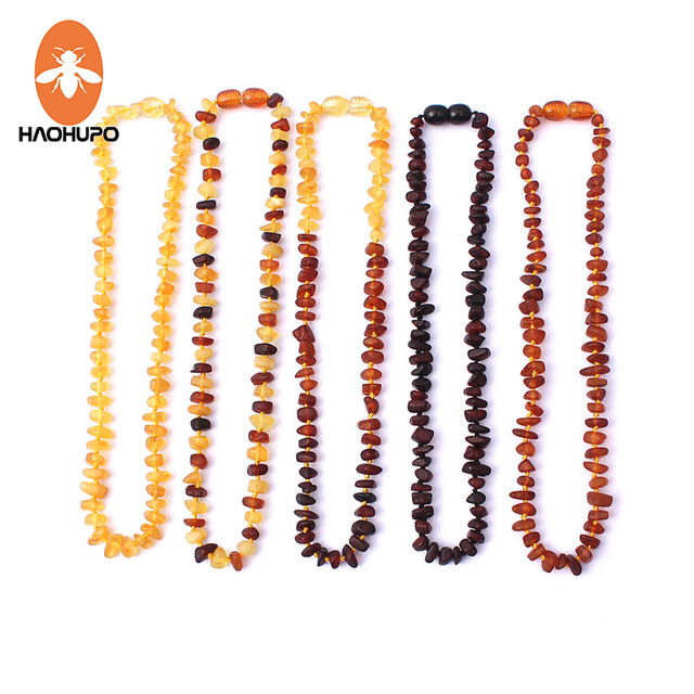 HAOHUPO Raw Amber Necklaces for Adults Raw Irregular Beads Baltic Natural Amber