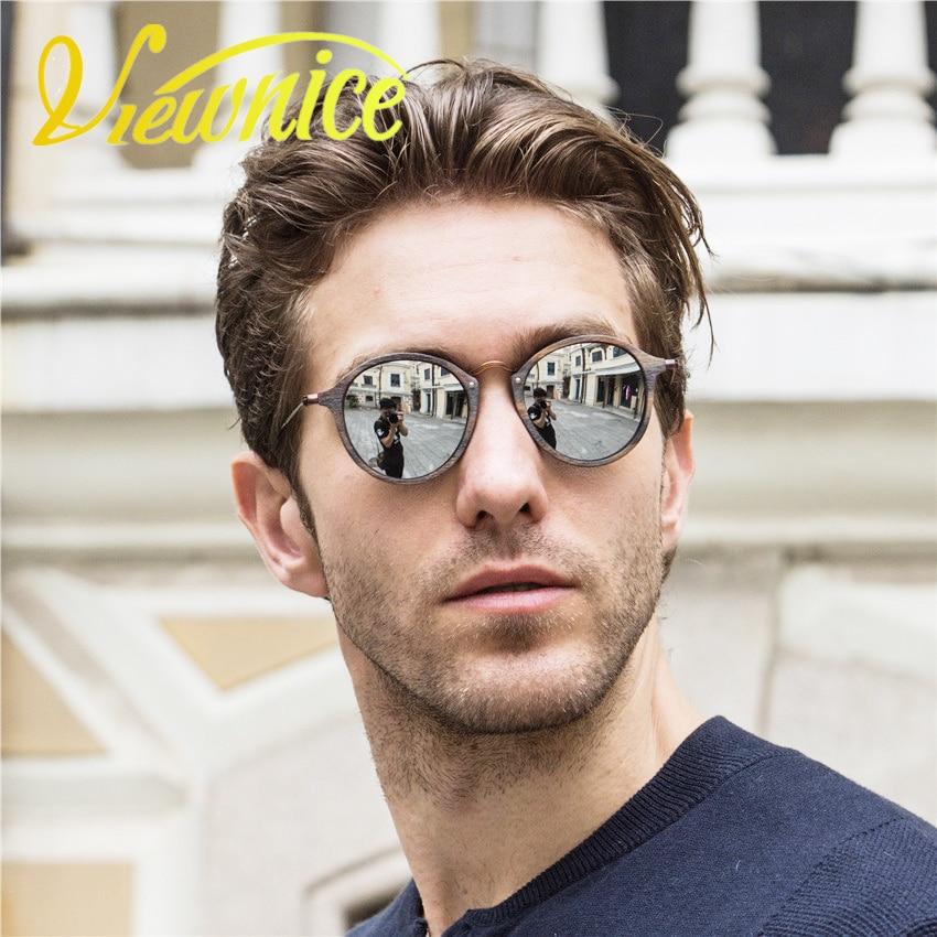 Viewnice damen sonnenbrille oculos feminino männer Vintage runde holzbrillen Retro Fashion sonnenbrille Metal Brand designer 2447