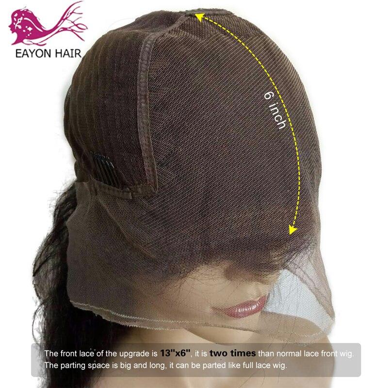 Eaion кудрявые прямые 13x6 человеческие волосы на кружеве для женщин 130 Плотность грубая яки бразильский Remy короткий боб парик натуральный цвет - 3