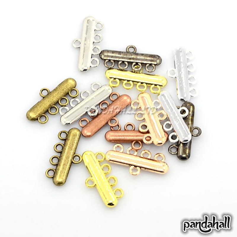 1/4Loop Alloy Chandelier Components Links, Rectangle, Mixed Color, 11x23x2mm, Hole: 2mm