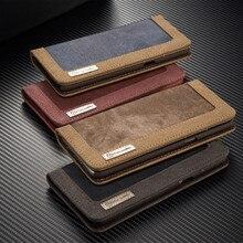 Для Samsung S6 S7 Edge S8 Plus роскошные кожаные Filp кошелек слот для карты холст ковбой чехол для iPhone 5 5S SE 6 6 S 7 Plus