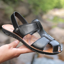 2019 Summer Big Size Men's Sandals British Fashion Genuine Leather Beach Shoes Mens Casual Massage Non-Slip Large Slippers Flats 2018 summer big size men s sandals british fashion genuine leather beach shoes mens casual massage non slip large slippers flats