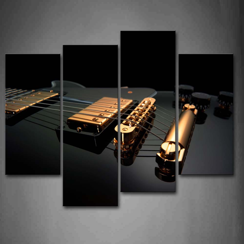 4 Panels Framed Wall Art Pictures Golden Guitar Canvas Print Music Poster With Wooden Frame For Home And Office Decor4 Panels Framed Wall Art Pictures Golden Guitar Canvas Print Music Poster With Wooden Frame For Home And Office Decor