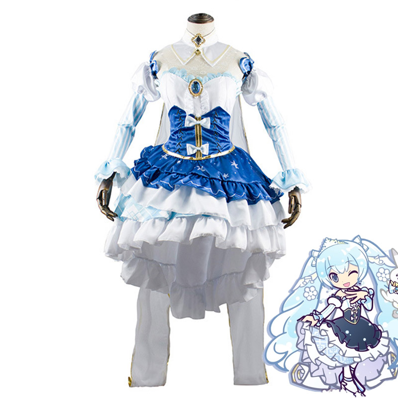 Hatsune Miku 2019 Snow Miku Princess Costume Cosplay for Girls Woman Snow Miku Halloween Party Costumes Cosplay