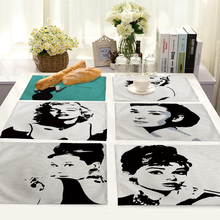 Star Ladies Head Portrait Place Mats for Dining Table Linen Rectangle Mat Kitchen Accessories Decoration Home