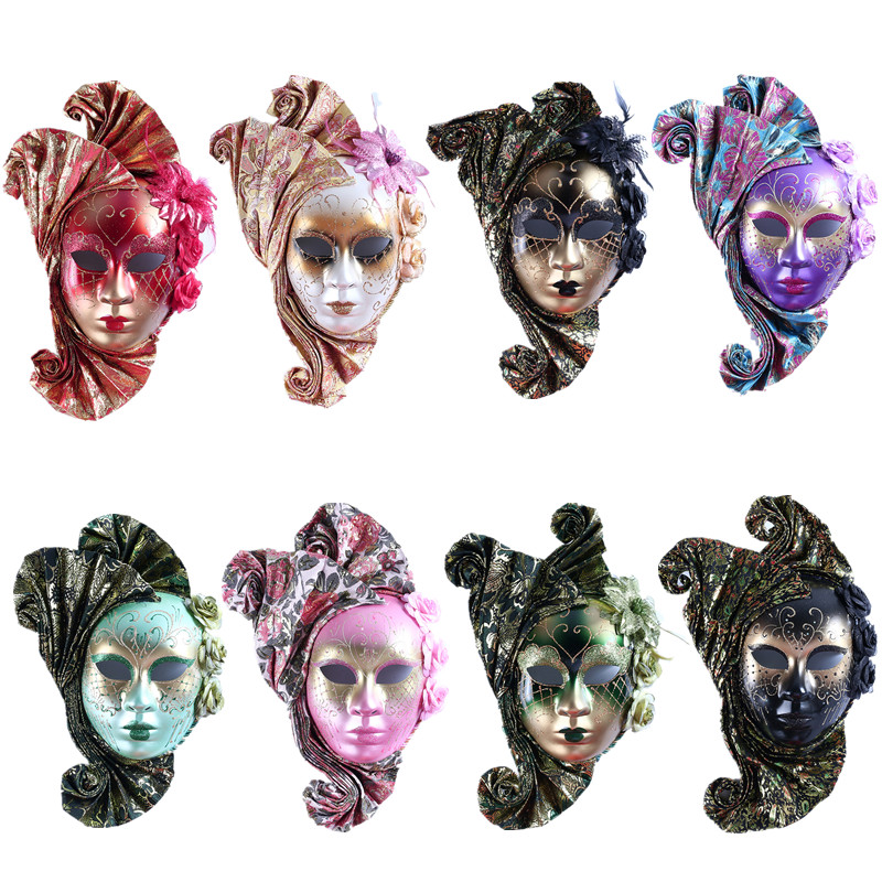 H&D 8 Colors Headpiece Full Face Masquerade Venetian Mask Masquerade Wall Mask Carnival Costume Fanshaped Mask Mardi Gras GiftsH&D 8 Colors Headpiece Full Face Masquerade Venetian Mask Masquerade Wall Mask Carnival Costume Fanshaped Mask Mardi Gras Gifts