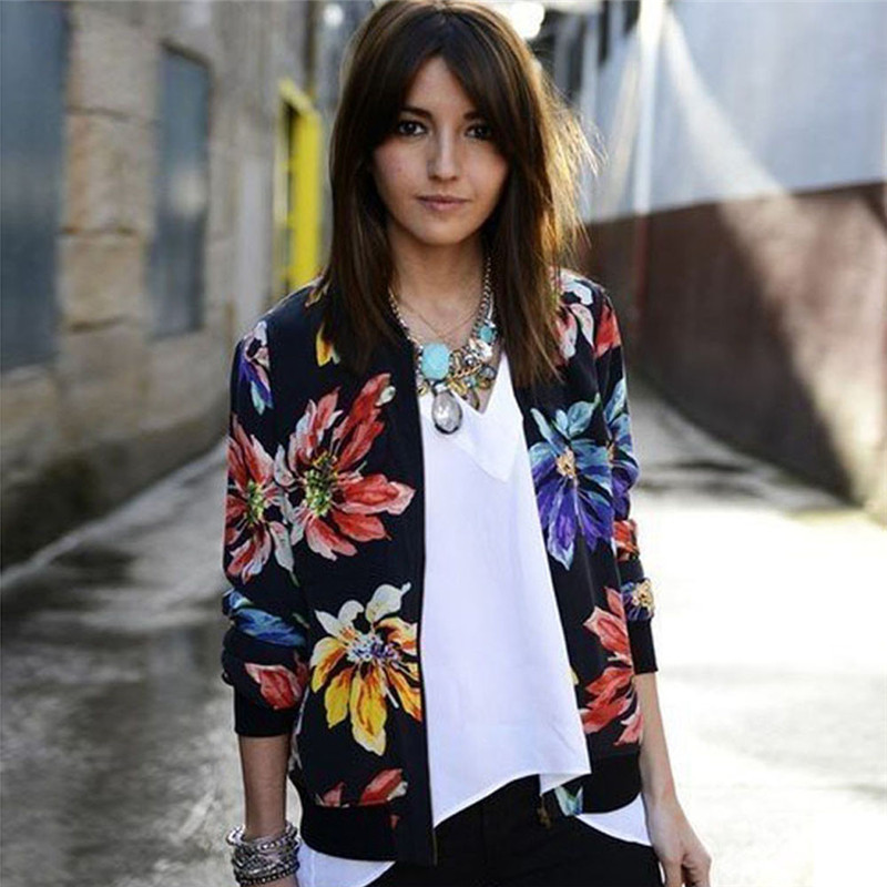 #2533 Women Long Sleeve national wind printing female small jacket Printed Zipper Suit Jacket Coat Outwear D45