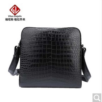 weitasi Crocodile Belly man pack shoulder bag men's oblique handbag choice leather without stitching casual fashion black