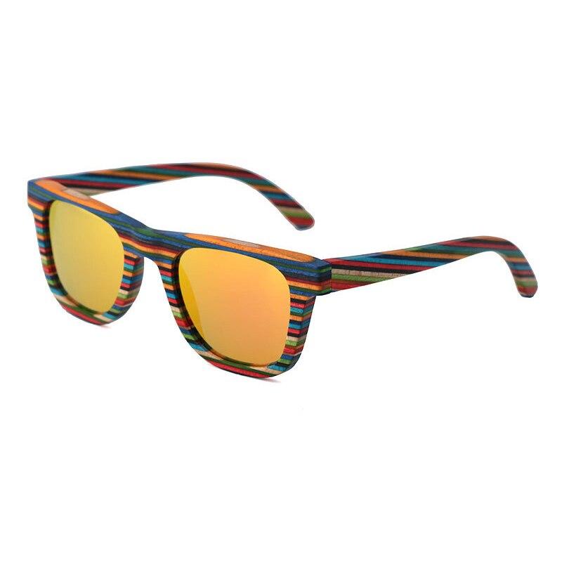 2019 femmes miroir lunettes de soleil hommes lunettes de soleil polarisées 4 couleur Orange/marron/gris/bleu UV400 cadre en bois
