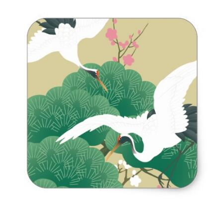 Купить с кэшбэком 1.5inch red-crowned crane square sticker