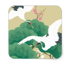 1.5inch red-crowned crane square sticker