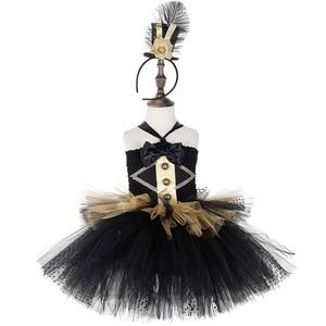 Image 2 - Черно Золотое Платье пачка в стиле цирковых колец, Детские великолепные костюмы Showman для девочек, платье для Хэллоуина, карнавала, дня рождения