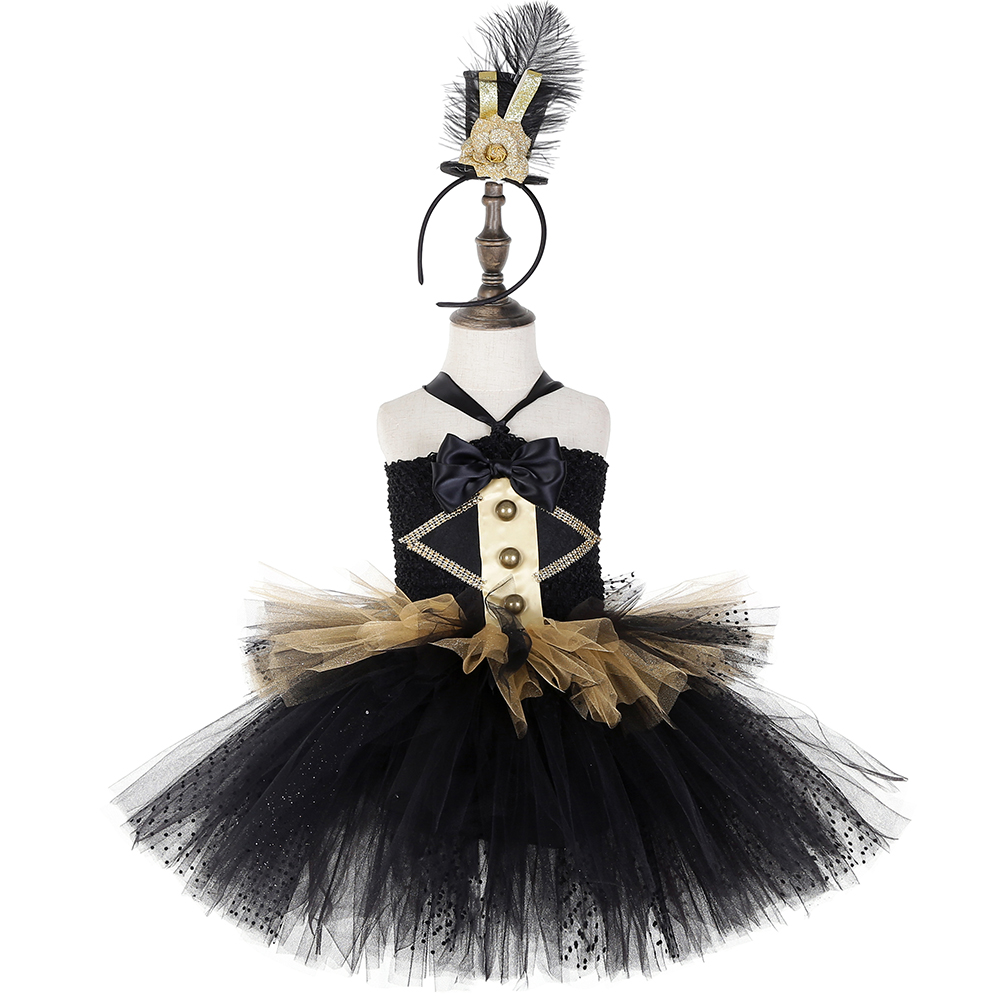 Image 2 - Black and Gold Circus Ringmaster Tutu Dress Kids Greatest Showman Costumes Girls Halloween Carnival Birthday Party Dress 1 14YDresses   -