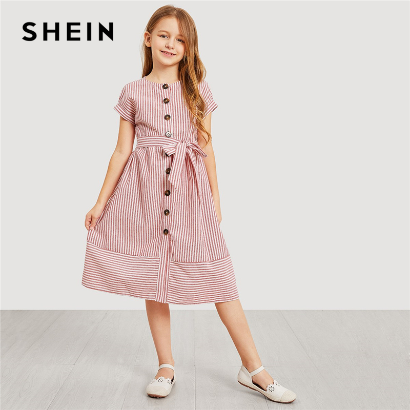 SHEIN Kiddie Pink Button Up Belted Striped Elegant Shirt Dress Girls Clothing 2019 Summer Korean Fashion Casual Girls Long Dress self belted button up plaid print dress