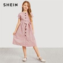 SHEIN Kiddie Rosa Button Up Con Cintura A Righe Elegante Camicia Vestito  Vestiti per Ragazze 2019 di Estate di Modo Coreano Casu. 4b733f9e759