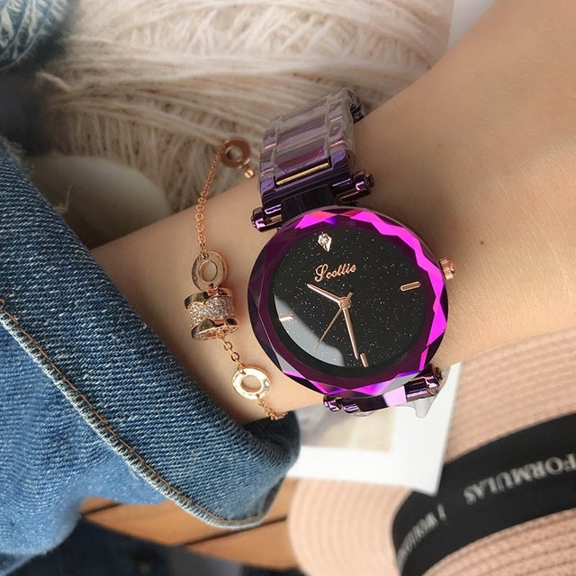 Luxury Fashion Ladies Watches Ultra Violet Women Elegant Casual Rhinestone Steel