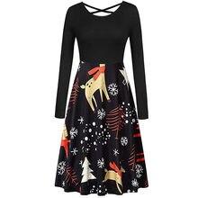 b87e2ecb19 robe noel femme dress Women Long Sleeve Christmas Cross Bow Tie Notes Print  Vintage Dresses elegant