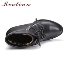 Meotina Women Boots High Heels Ankle Boots Winter Gothic Platform Motorcycle Boots Lace Up Zip Women Shoes Gray Big Size 9 41 42