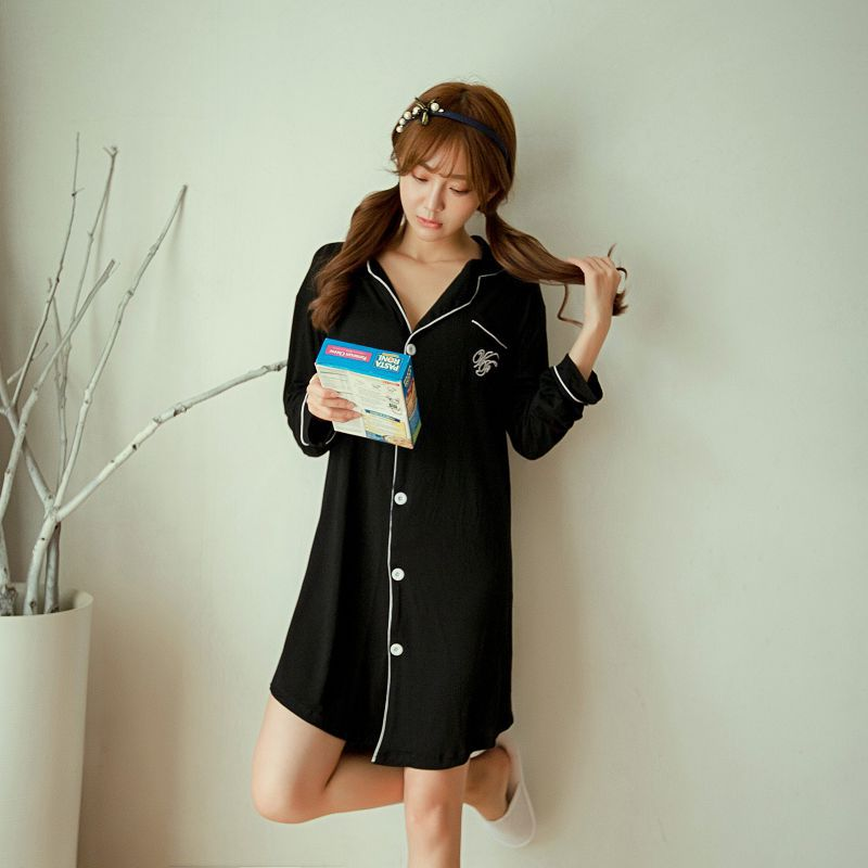 Spring Autumn 2019 Cotton Nightsuits Women Nightwear Nightdress Long Sleeve Ladies Thin Nightgowns Nightdress Sleepshirts