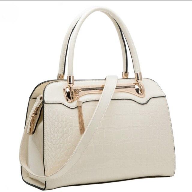 New Fashion Cream White Women Handbags Crocodile Painting Luxury Shoulder Bags Pu Leather Messenger