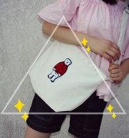 2016 new fashion lady shoulder bag College wind cartoon bear canvas messenger bag handbag small fresh students ZS347