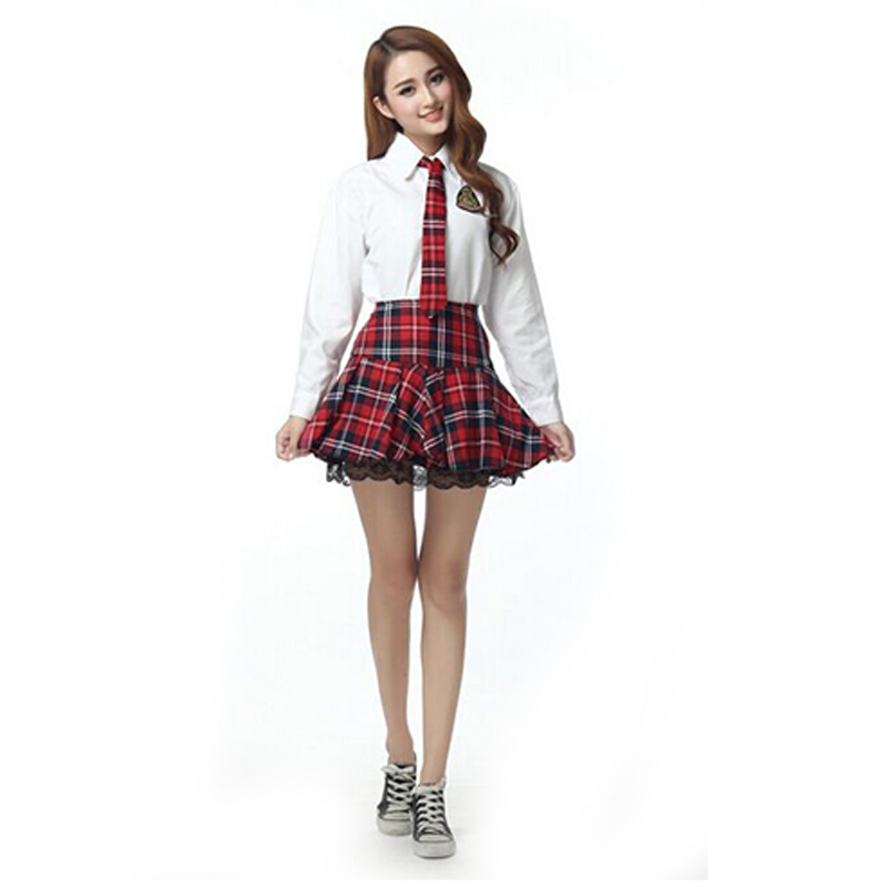Hot Uniform Sexy School Uniform Long Sleeved Shirt Student -3379