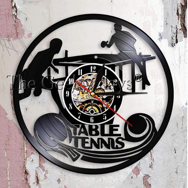 Table Tennis Wall Clock Club Sign Vinyl Record Home Decor Ping