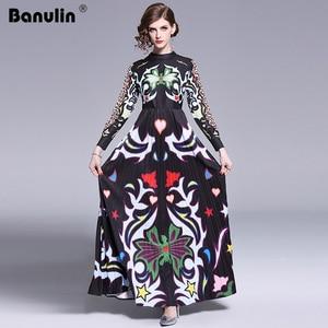 Image 4 - Banulin 2019 Pist Uzun Maxi Elbise Kadınlar Yüksek Kalite Büyüleyici Çiçek Uzun Kollu Patchwork Zarif Vintage Kat Uzunluk Elbise