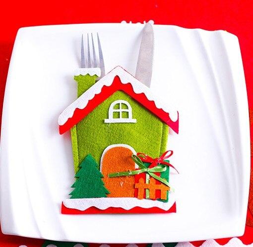 Шляпа Санты, олень, Рождество, Год, карманная вилка, нож, столовые приборы, держатель, сумка для дома, вечерние украшения стола, ужина, столовые приборы 62253 - Цвет: H4