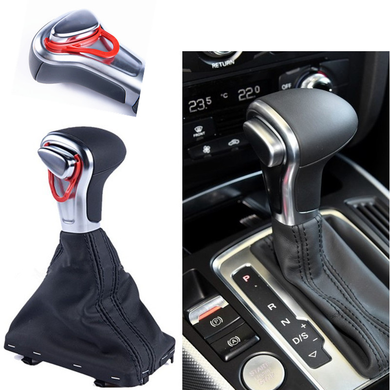 Gear Shift Knob Gaitor Boot Cover Black Leather For Audi A4 A5 Q5 A6 Car Accessories