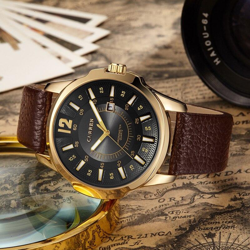 Prix pour Marque de luxe Homme Montre-Bracelet Curren Mode Casual Montres Bracelet En Cuir Hommes Quartz-Montre Date Calendrier Mâle Horloges Vente Chaude heure