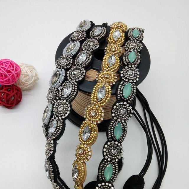 Vintage Bohemian Turquoise Beaded Hairband Rhinestone Elastic Headband for Womens Fashion Handmade
