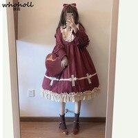 Tea Party Japanese Style Girl Long Sleeve Lolita Dress Anime Comiket Bowknot JSK Lolita Cosplay Lace Dress Maid Costume Dress