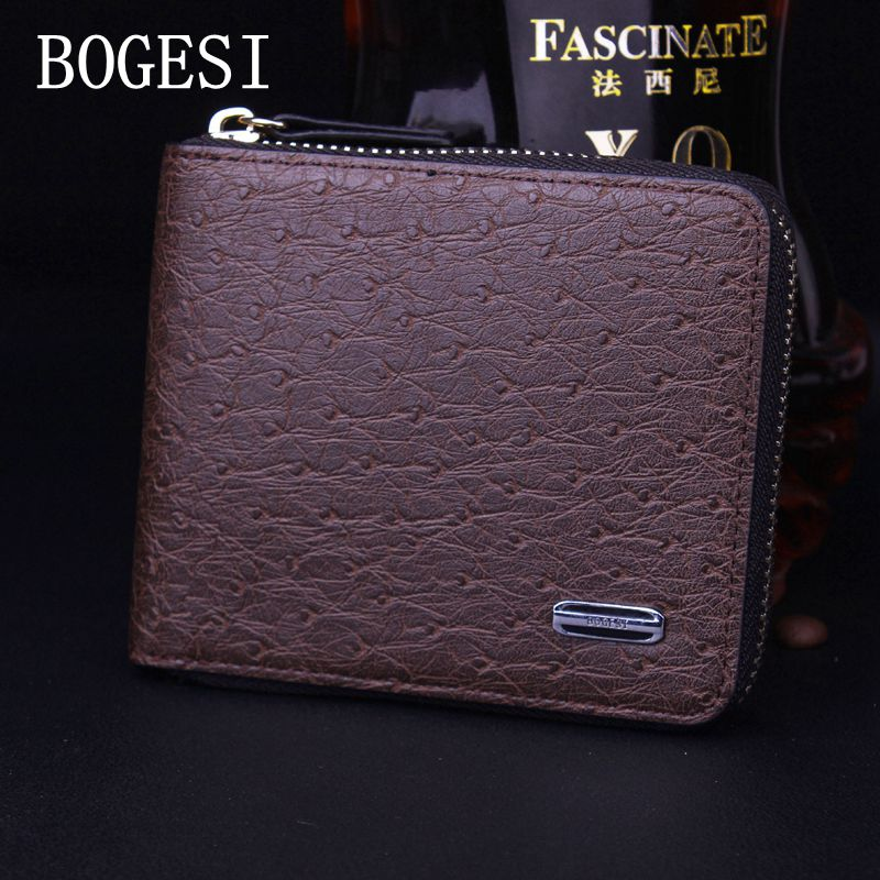 BOGESI 2017 Men Wallets Famous Brand Mens Money Wallets Business Wallets Zipper Portfolio Design Credit Cards Card Holde purse цена и фото
