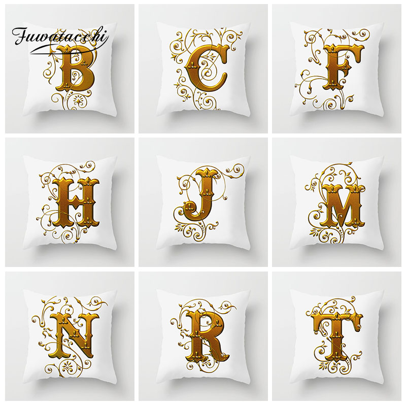 Fuwatacchi Letter English Alphabet Cushion Cover Gold Flower Pillow cover For Home Living Room Decoration Pillowcase 45cm*45cm