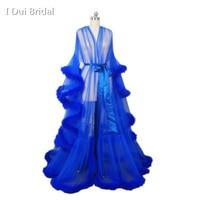 Перья ярко синего цвета Свадебная одеяние мусульманской с длинным рукавом платье с отделкой плюшем маскарад платье для танцев платье Homecoming