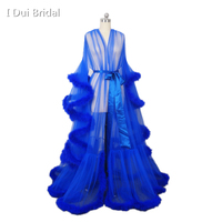 Royal Blue Feather Bridal Robe Muslim Long Sleeve Feather Robe Masquerade Dance Dress Homecoming Dress