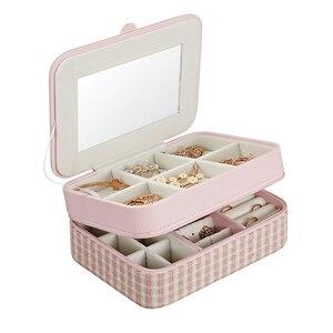 Image 5 - Casegrace dwuwarstwowa przenośna torba podróżna pudełko na biżuterię z lustrem skórzany Organizer do ekspozycji futerał do przechowywania kolczyków naszyjnik pierścionek