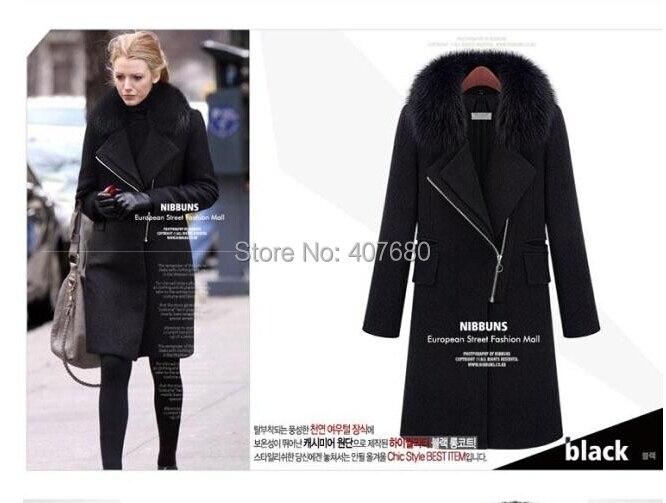 2016 Winter Hot Sale Gossip Girl Women s Elegent Slim Fashion Fur Collar Long Zipper Solid