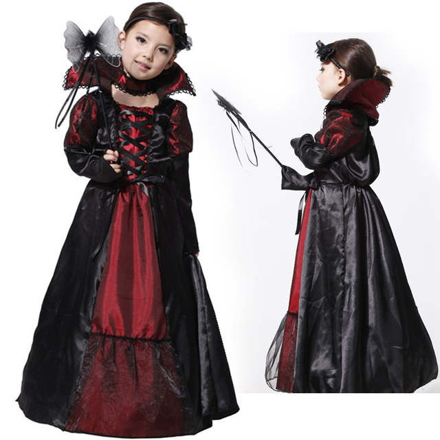 935365ca0af1f M~XL New Vampire Girl Queen Prinecess Children Cosplay Halloween Costume  for Kids Party Carnival